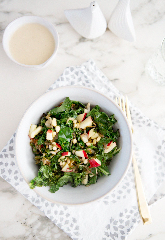 warm kale salad with caramelized shallots, pine nuts and apple – A ...