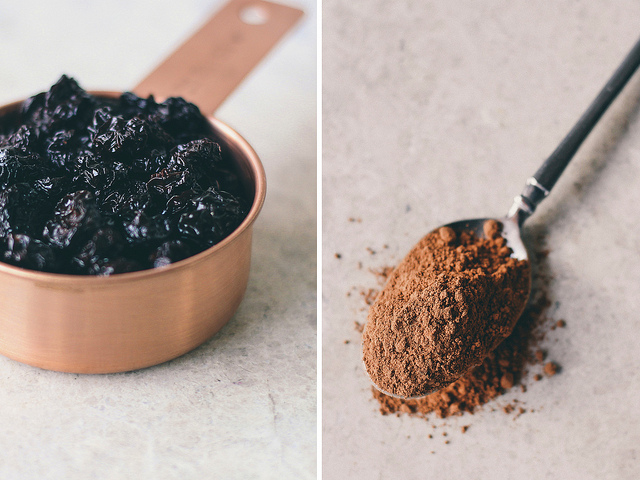 Dehydrated cherries + cacao powder