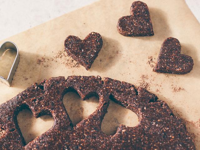 Raw cherry brownie hearts
