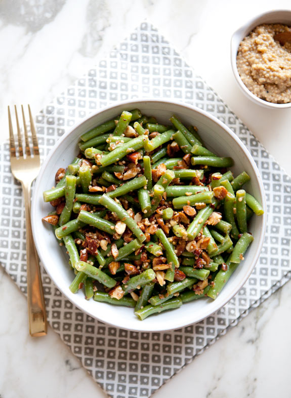 Green Bean Salad With Fried Almonds Recipe — Dishmaps
