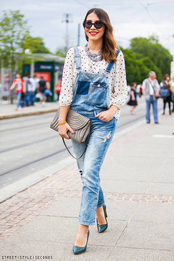 Street Style Inspiration Overalls And Polka Dots U2013 A House In The Hills