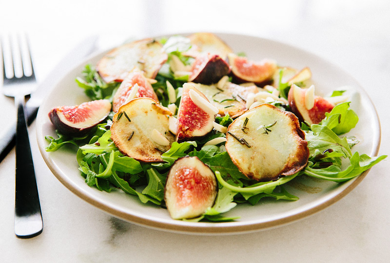 Arugula, Fig and Fried White Sweet Potato Salad