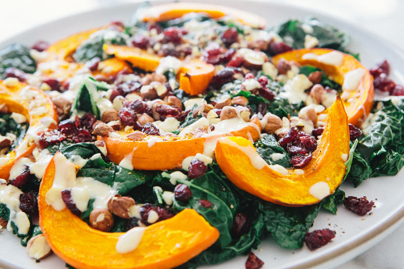 kale and roasted red kuri squash salad – A House in the Hills