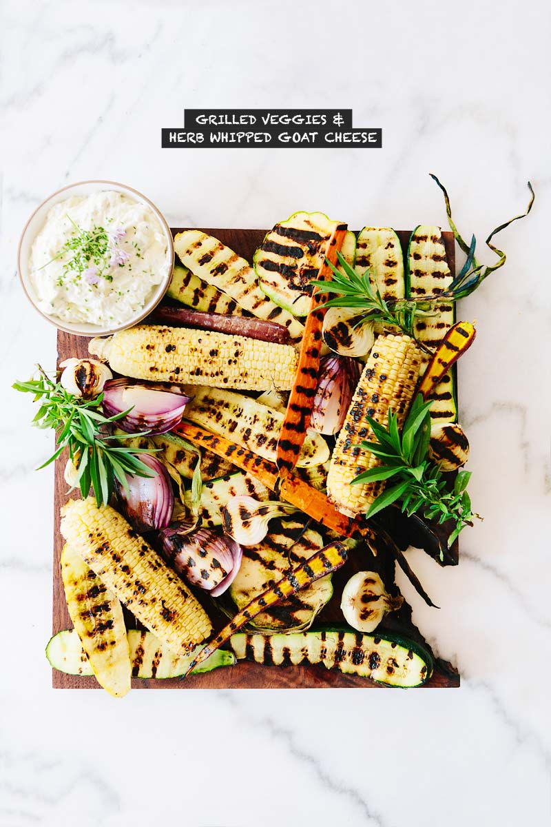 Grilled Veggies & Herb Whipped Goat Cheese