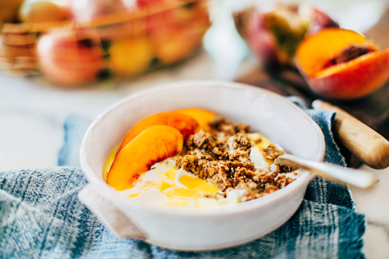 Greek yogurt, granola and Passion Fruit Drizzle