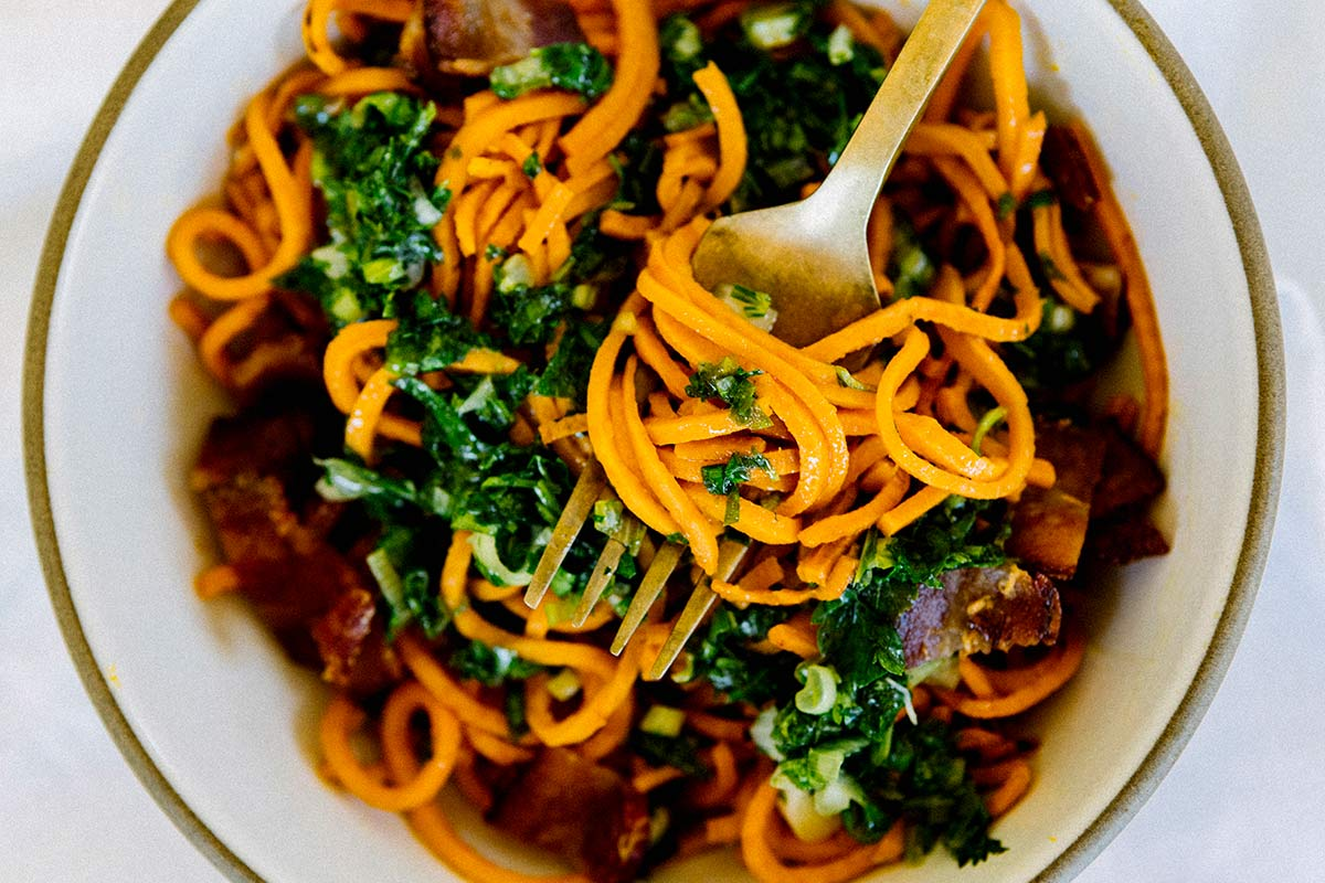 Sweet Potato Noodles with Chimichurri and Bacon